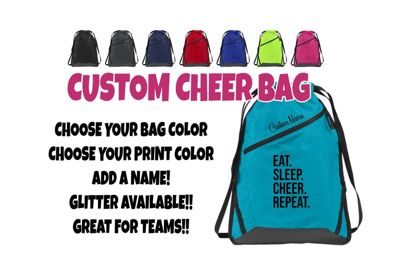 f0d2e17e8b79 Custom Cinch Sack, Team Bag, Personalized Bag, Cheer Bag, Custom Drawstring  Backpack, Drawstring Backpack, Custom Cheer Bag, Cheer