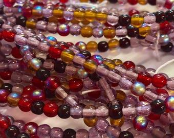 4mm Druk Bead Mix, 4mm Round Glass Bead Mix, Mixed Glass Strand, Czech Druk Bead Mix, Amethyst/Purple/Amber