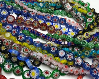 Millefiori Bead Strand Mixed Lot, Assortment of 12 Strands, Glass Bead Assortment, Bead Destash