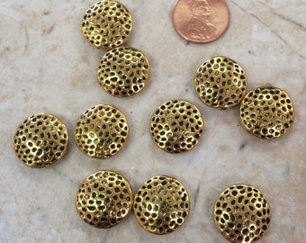 Antique Gold Plated Dotted Coin Beads / Set of 10
