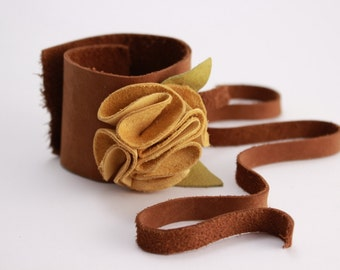 Extra Wide Golden Yellow Leather Flower Cuff Bracelet