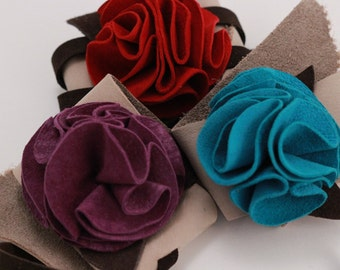 WIDE Purple Suede and Nubuck Leather Flower Cuff Bracelet