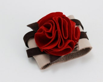 RED Suede and Nubuck Leather Flower Cuff Bracelet