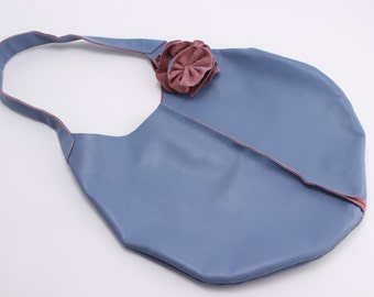 Blue and Purple Leather Purse with Accent Flower
