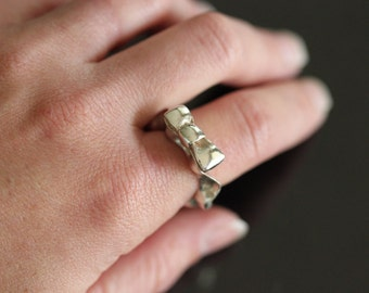 Ruffle with a Bow - Sterling Silver Statement Ring - size 7 - Hand Carved - Sculpted - One of a Kind