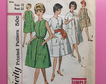 Simplicity 4488 COMPLETE vintage sewing pattern for Misses Dress, Unlined Coat, and Housecoat Bust 32