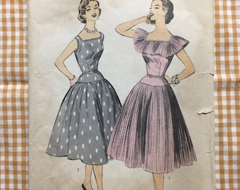 Advance 7096 COMPLETE vintage sewing pattern for Misses Dress 2 Versions Size 10 Bust 28 1950s