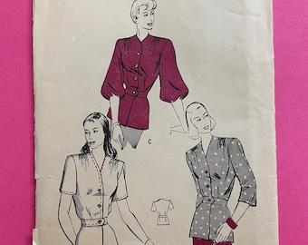 Butterick 4253 UNCUT Vintage Sewing Pattern for Misses Peplum Blouse Bust 34 Rare 1940s Pattern