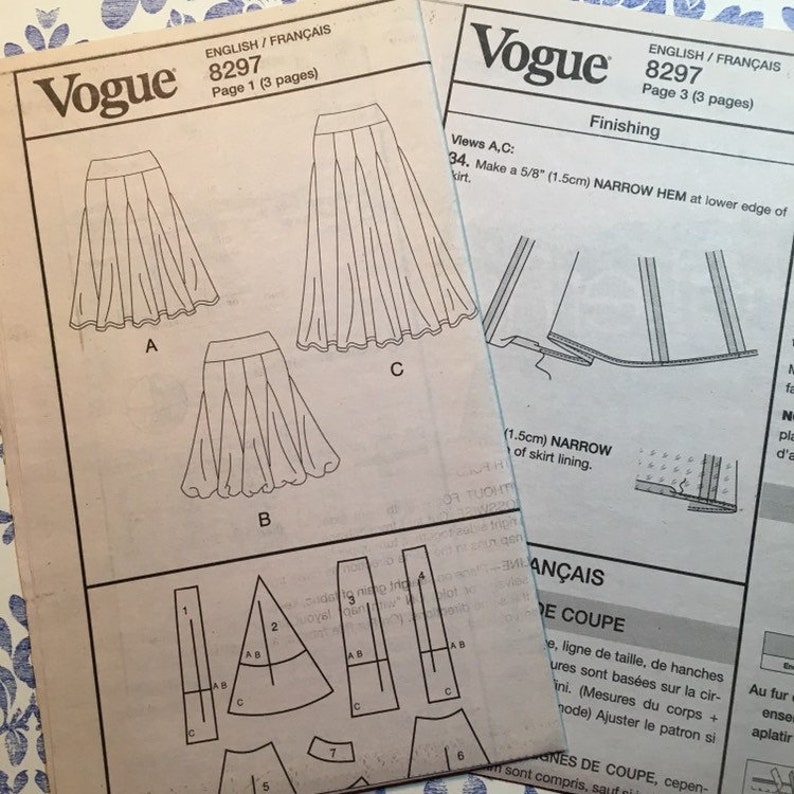 Vogue 8297 UNCUT sewing pattern for Skirts sizes 6 8 10 12