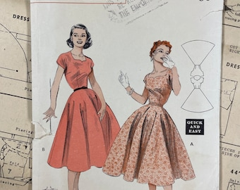 Butterick 6937 COMPLETE Vintage Sewing Pattern for Misses Quick & Easy Dress with Cut-Out Neckline Bust 32