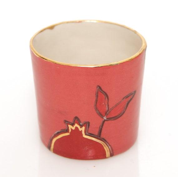 Small Porcelain Pomegranates Red Coral Hard Liquor Shot Ceramic Glass Drawing Gold Plant Fruit Judaica Rosh Hashana