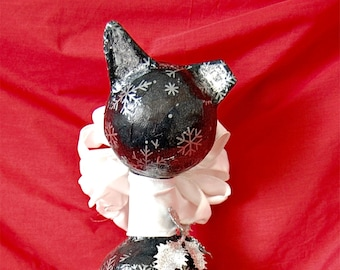 """Christmas """"Tipped"""" Kitty  Sculpture in Navy Blue, Silver, and White"""