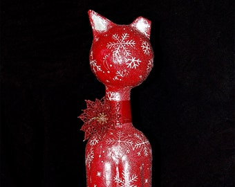 """Christmas """"Tipped"""" Kitty  Sculpture in Red and Silver"""