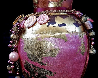 Pink Glass Jar with Gold Leaf with Roses, Hearts, Wings, Rose Quartz, and Wine and Pink Glass Beads  for Gratitude, or Your Word of the Year