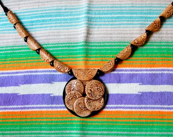 ON SALE! Tin Cans and Leather Necklace