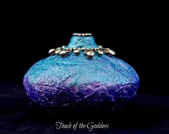 Turquoise and Lilac Small Ornamental Jar Embellished with Vintage Aurora Borealis Rhinestones