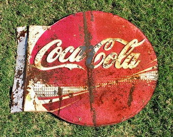 Vintage Tin Sign Advertising Cola Cola / Metal Soda Sign / Double Sided / Flanged / Old Mexico
