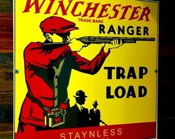 Winchester Ranger Trap Load Ammo / Bullet / Cartridge / Advertising Sign / Heavy Metal Sign / New Winchester Copy