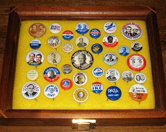 Display Case /w 35 Collectible Political Presidential Campaign Pin-back Buttons