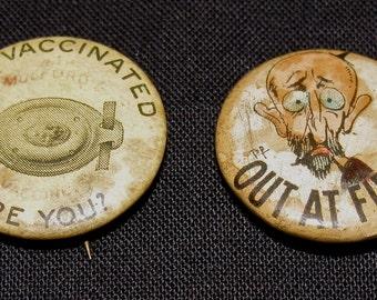2 Vintage Pin Back Button / Buttons /  Push Pins / PinBacks