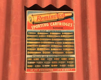 Original Remington Sporting Cartridges Advertising Bullet Sign / Poster / Old Store Ammo Display
