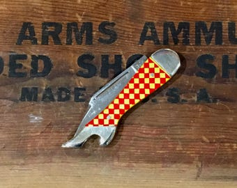 Winchester Lady / Ladies Leg Knives / Checkerboard Handle Boot / Shoe Pocket Knife