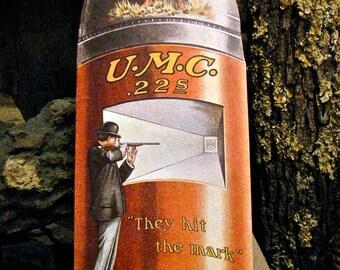 U.M.C. Die Cut Cardboard Display Sign / Union Metallic Cartricge 22 Ammo Reproduction Advertisement / Remington