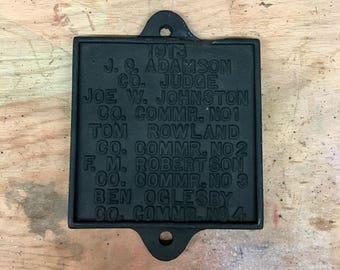 1913 Bridge Plaque Sign / Cast Iron / Vintage / Original / Antique