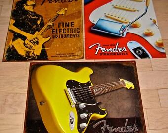 3 Guitar Advertising Tin / Metal Signs / Fender
