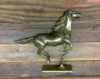 Vintage Brass Horse Western  Figurine