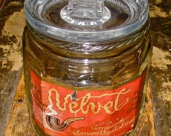 Antique Velvet Tobacco Cigar Humidor with Original Label / Glass Jar /  Cigarette, Tobacco