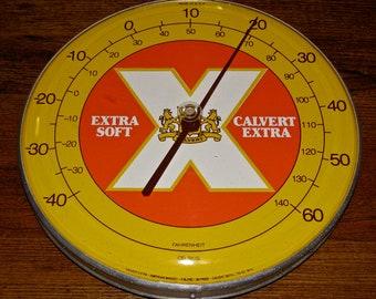 Vintage Calvert Extra 80 Proof Whiskey Round Advertising Tin / Metal Thermometer Sign