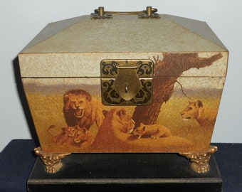 Trinket Box/Chest-Arister Gifts Inc.-African Lion Scene