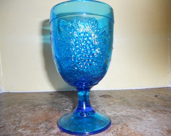 Vintage Blue Glass Goblet with Grape Pattern-Smith Glass