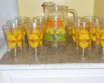 Vintage Libbey Glassware Set-12 Glasses and Pitcher-Lemon Slices