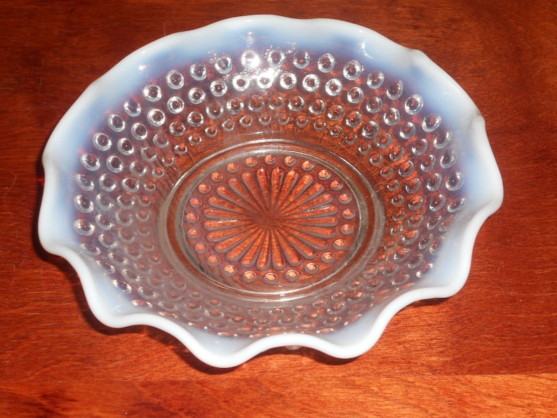 Pottery & Glass Just Vintage Fenton Moonstone Opalescent Hobnail Glass Bowls