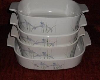 Corningware Casserole Dishes-Shadow Iris-Set of 4-WITHOUT LIDS