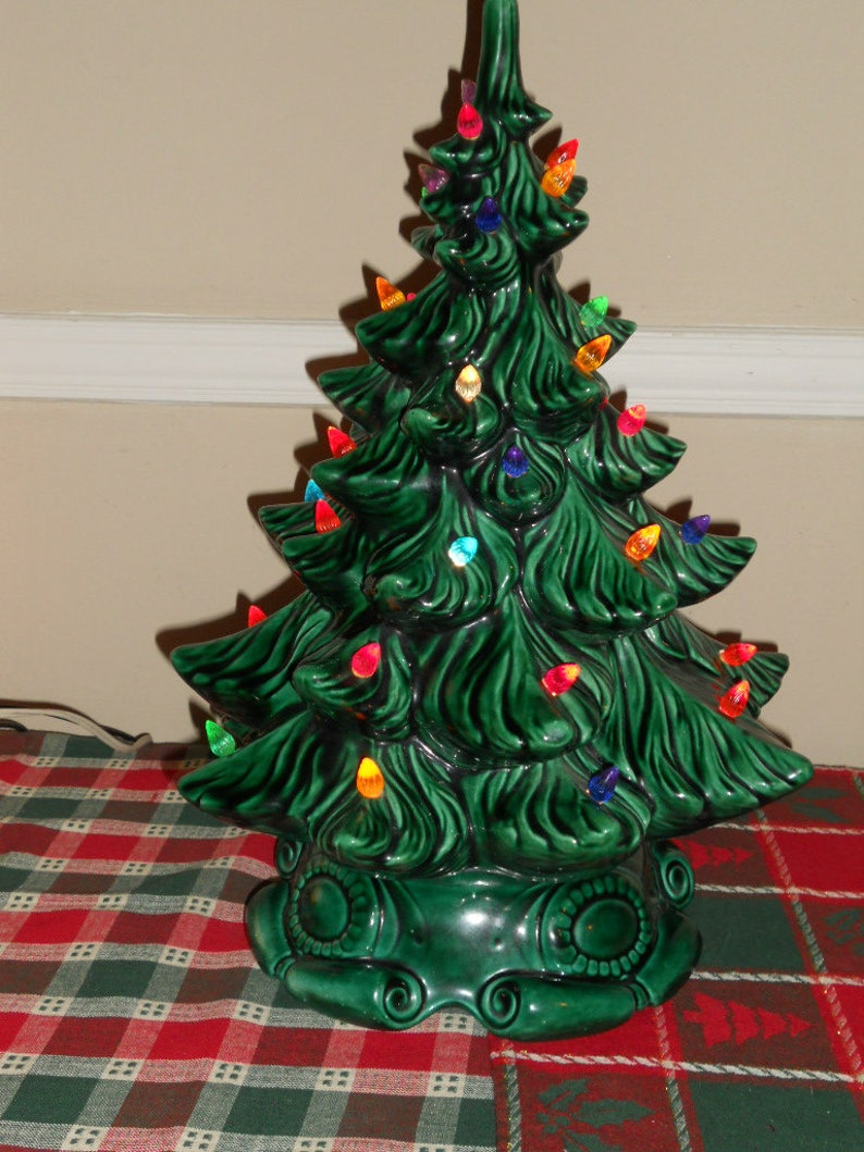 Medium 17 Atlantic Mold Lighted Ceramic Christmas Tree 1970 S