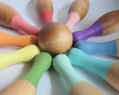 Unicorn fluff wood toy bowling set - 10 pins, 2 balls, and bag