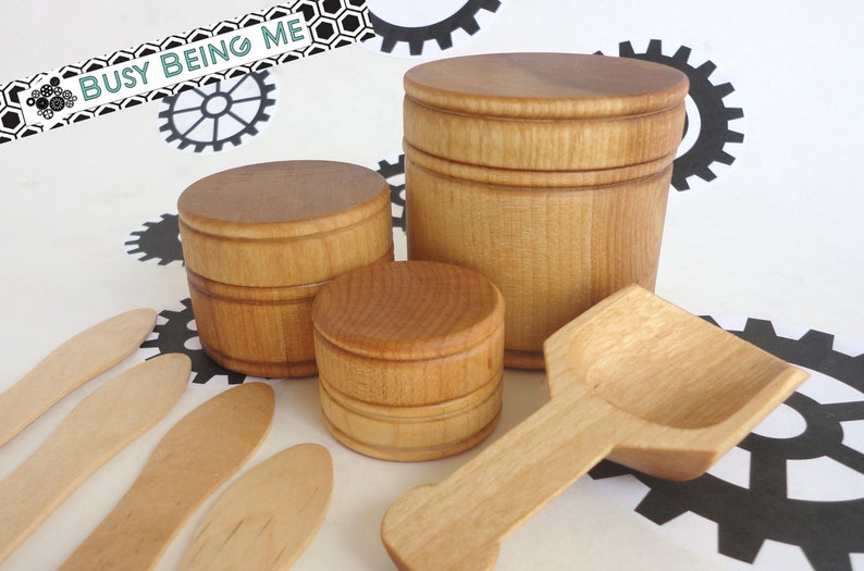 Set of 3 Nesting Wood Canisters Wood stacking toy all natural toy toy kitchen accessories