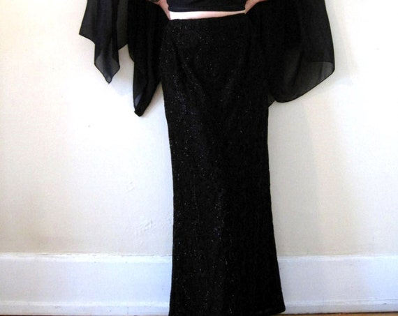 vintage 90s Carmen Marc Valvo black beaded maxi skirt mermaid snakeskin animal print jet beads witchy goth cocktail party