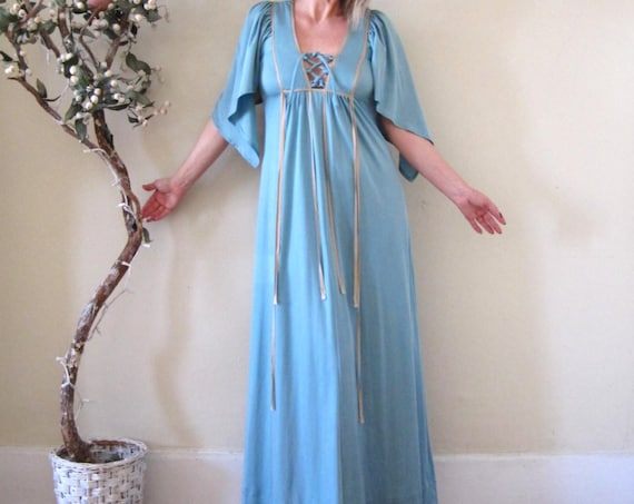 vintage 70s 1970s pale blue maxi dress / bell sleeves hippie boho goddess size S/M made in England