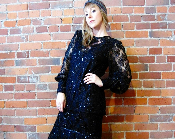 vintage 80s jet black lace beaded sequined dress hanky hem Gatsby party witchy masquerade