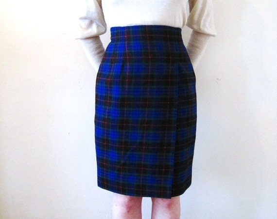 vintage 90s 1990s high waist plaid pencil skirt / checked blue red green minimalist preppy sexy secretary