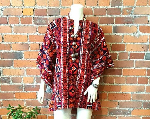 vintage 60s 70s bark cloth mini dress tunic top bell sleeves Summer orange purple pink black ethnic print tiki