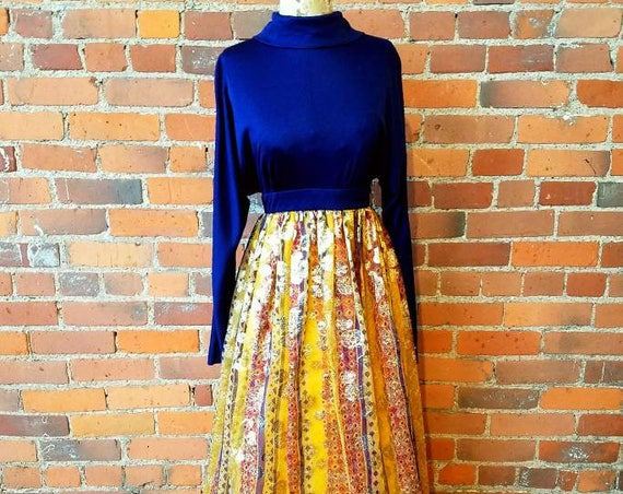 vintage 60s 70s maxi dress indian metallic ethnic print boho rich hippie formal prom