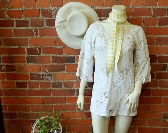 vintage 60s 70s white crochet lace cotton mini dress tunic top mexican wedding dress Jane Birkin boho bride beach hippy festival