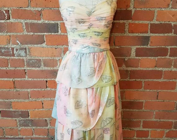 vintage 70s 80s dress Mona Routier Paris couture designer strapless silk chiffon scherbet metallic abstract butterfly print pastel tie dye