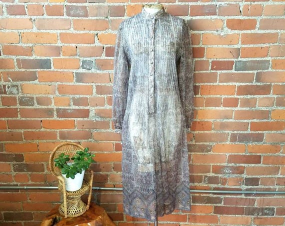 vintage 70s midi dress Indian sheer metallic threads boho hippie silver gold gauze