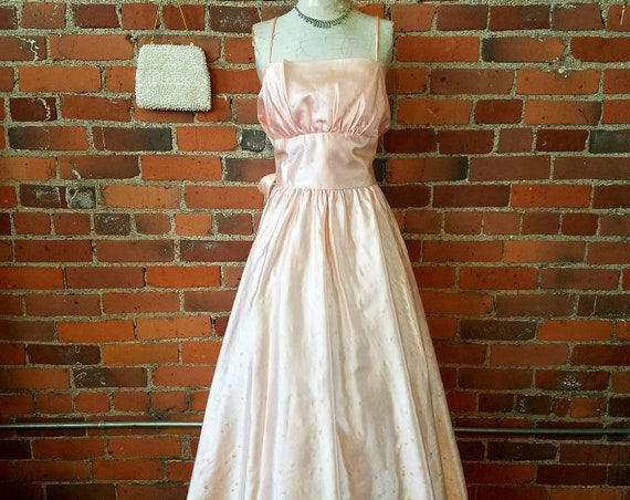 Vintage 80s does 50s pink satin party dress shelf bust iridescent Gold Heart print attached crinoline formal prom
